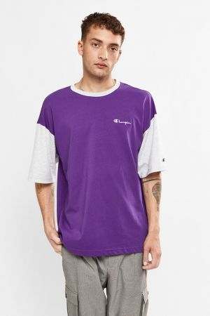 Champion Oversize Mini Script T-Shirt Purple Grape AWMXA1 564