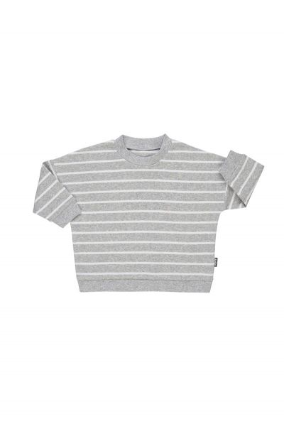 Bonds Ribbies Pullover New Grey Marle & White BXBLA 9R3