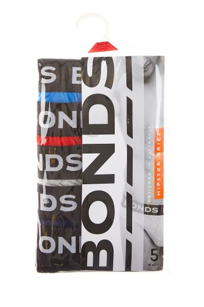 Bonds Outlet Hipster Brief 5 Pack Palais Blue & Fire Engine & New Grey Marle & Deep Arctic & Black