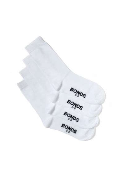Bonds Kids School Oxford Crew Socks 4pk